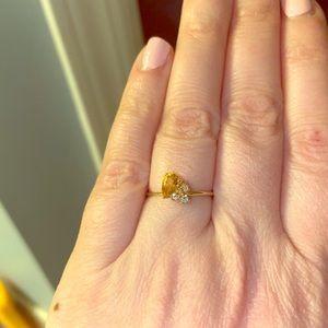 Citrine Diamond Ring Dainty Size 6